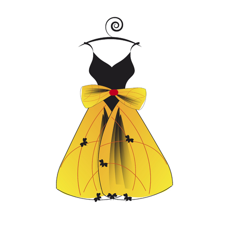 Yellow and black wedding dress design, isolated on a white background