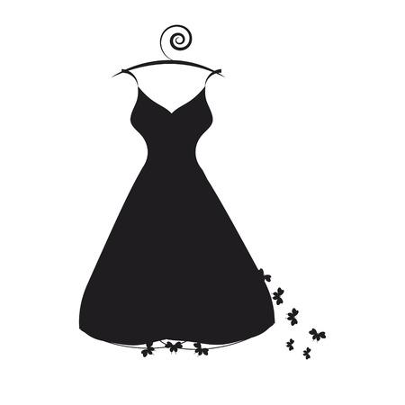 Czarna suknia ślubna, izolowana na białym tle Ilustracje wektorowe