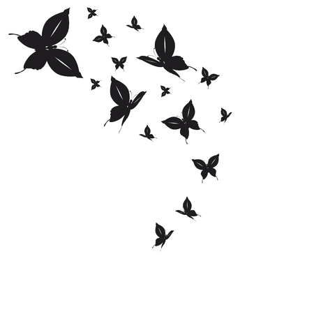 silhouette,beautiful butterflies, isolated on a white Ilustração