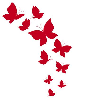 beaux papillons rouges, isolés sur un fond blanc