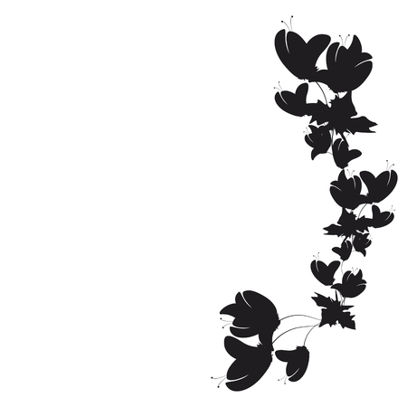 beautiful black flowers, isolated on a white Иллюстрация