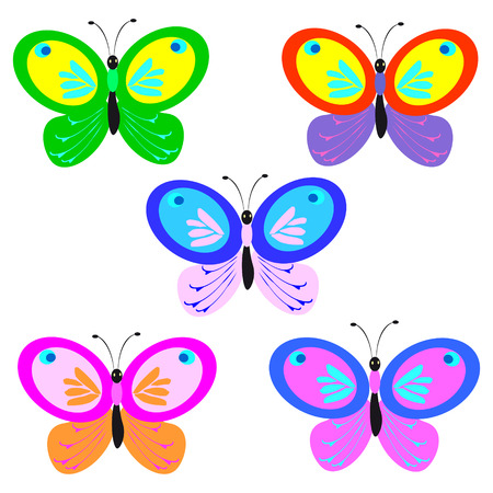 color beautiful butterflies, isolated on a white