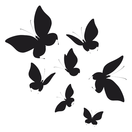 silhouette,beautiful butterflies, isolated on a white Иллюстрация