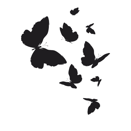 silhouette,beautiful butterflies, isolated on a white Illustration