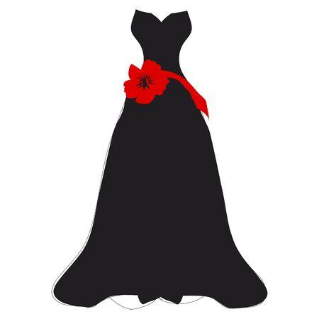 wedding dress design, isolated on  a white Фото со стока - 130043414