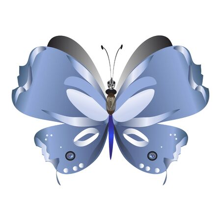 beautiful butterflies, blue,isolated on a white Иллюстрация