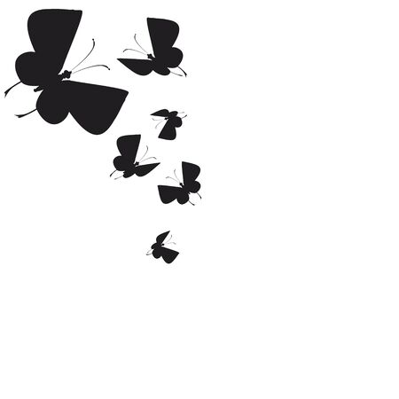 silhouette,beautiful butterflies, isolated on a white 일러스트