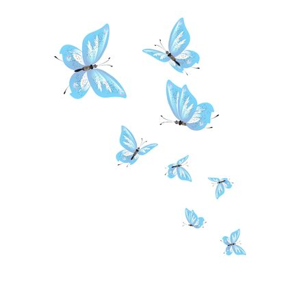 beautiful butterflies, blue,isolated on a white Ilustracja