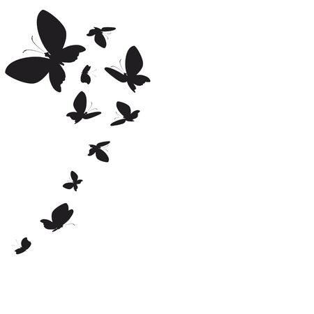 silhouette,beautiful butterflies, isolated on a white Ilustrace
