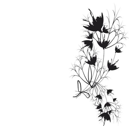 beautiful black flowers, isolated on a white 向量圖像