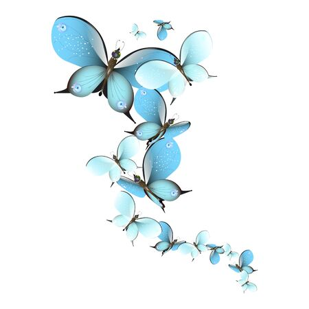 beautiful butterflies, blue,isolated on a white Archivio Fotografico - 138439687