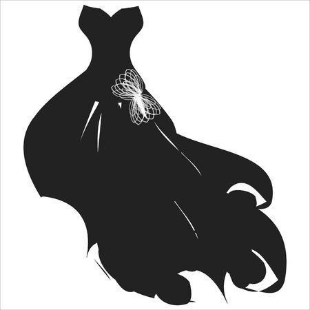 wedding dress design, isolated on a white Vector Illustratie