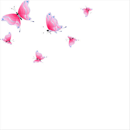 beautiful pink butterflies,isolated on a white Ilustração