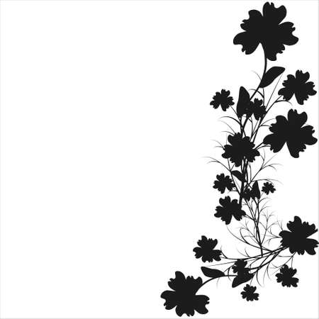 beautiful black flowers, isolated on a white Ilustrace