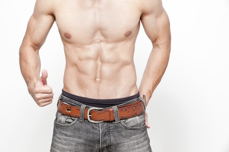 muscle man topless posing focus on abs Stock Photo - 20547753