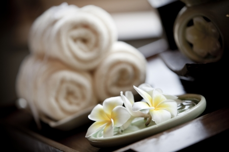 spa candles: Wellness and spa concept  Stock Photo