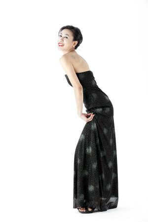 Young asian woman wearing a black dress photo