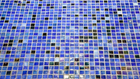 Seamless blue square tiles pattern photo