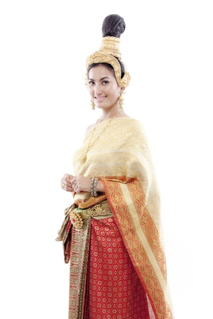 Thai woman is posing with her thai costume  photo