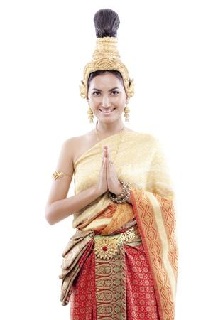 saluta: Thai donna saluta un costume thai Archivio Fotografico