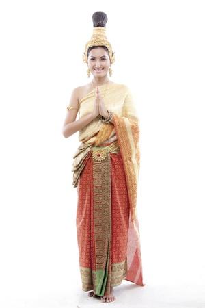 greets: Thai woman greets on a thai costume
