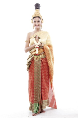 greets: Thai woman greets on a thai costume  Stock Photo