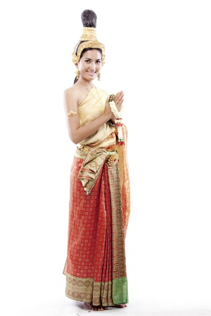 Thai woman wearing thai costume against white background