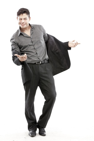 chuckles: Businessman posing with business suit Stock Photo