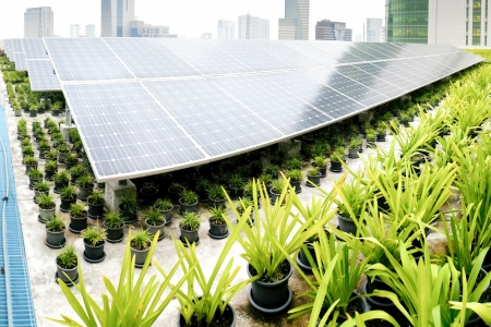 Solar energy panels on top of building Stock Photo - 22171686