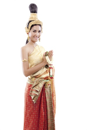 Portrait of woman wearing traditional Thai clothings isolated on white Stock Photo