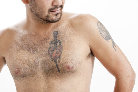 Shirtless Asian man with tattoos photo