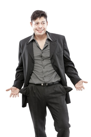 Businessman with emptied out pockets photo