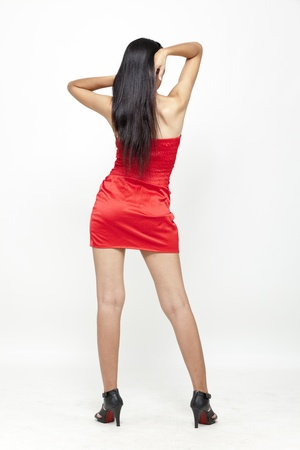 red dress: Asian woman in red dress
