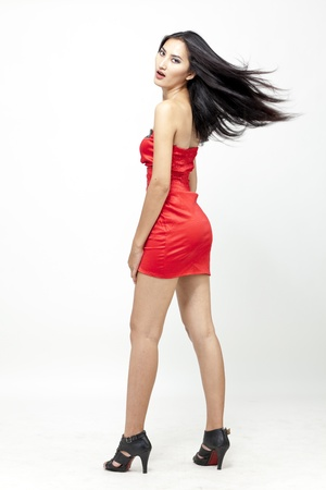 asian model: Asian woman in red dress