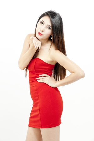 Fashion model wearing red dress photo