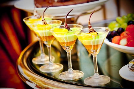 mouth watering: Dessert served at wedding reception