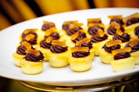 mouth watering: Chocolate pastry for wedding reception