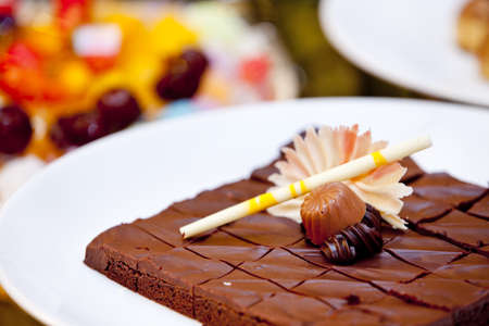 mouth watering: Delicious chocolate cake served at wedding reception