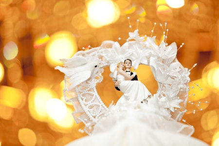 Bride and groom on top of a wedding cake photo