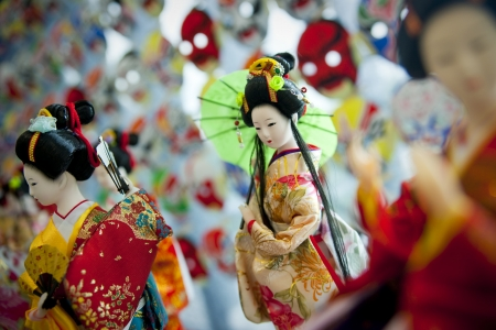 Japanese dolls in different costumes