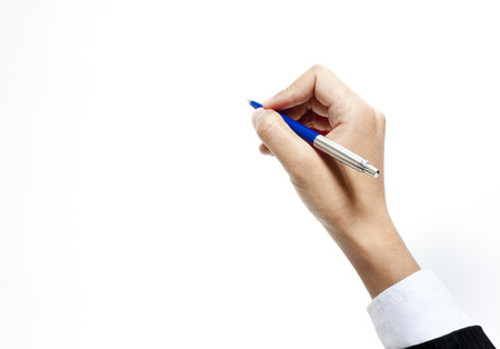 wrist cuffs: Hand holding a pen on white background