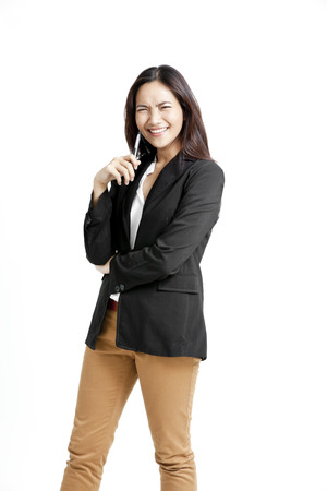 khakis: Pretty Asian woman with pen
