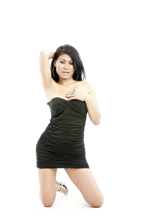 Pretty Asian woman in black dress photo