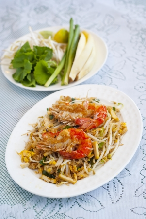 beansprouts: Seafood noodles with vegetables Stock Photo