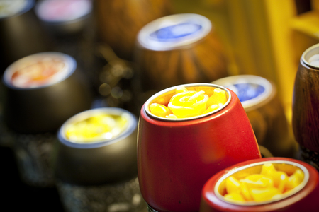 Row of aromatic candles