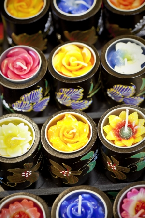 Colorful aromatic candles