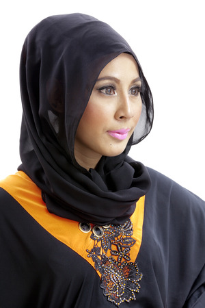 modesty: Woman wearing a hijab and dressed in malay attire