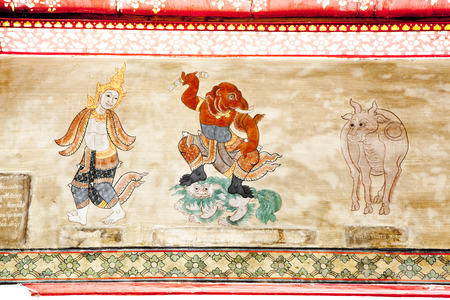 Thai style illustration on temple wall
