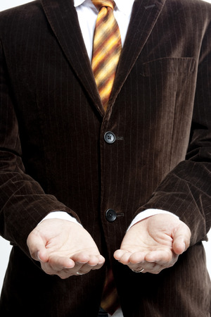 Businessman with two palms open photo