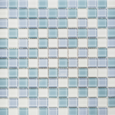 Background of light blue and white tiles Stock Photo